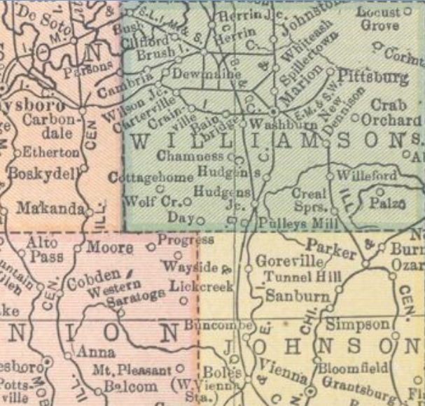 Williamson Johnson Counties Illinois ca 1900