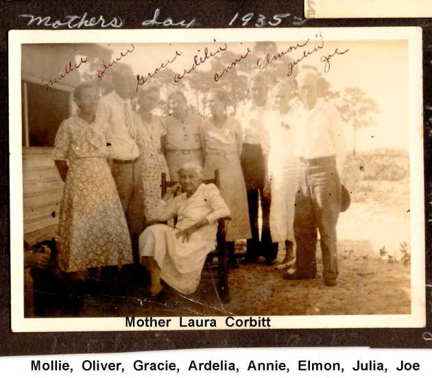 Mollie, Oliver, Gracie, Ardelia, Annie, Elmon, Julia, Joe, Mother Laura Corbit Mothers Day 1935